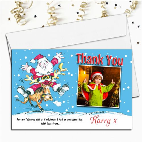 10 Personalised Christmas Xmas Gift Thank you PHOTO Cards Notes N57